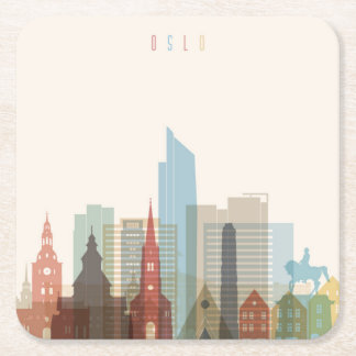 Porta-copo De Papel Quadrado Skyline da cidade de Oslo, Noruega |