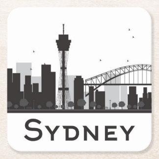 Porta-copo De Papel Quadrado Sydney, Austrália skyline preta & branca de | da