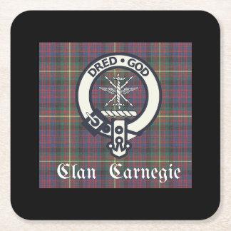 Porta-copo De Papel Quadrado Tartan da crista de Carnegie do clã