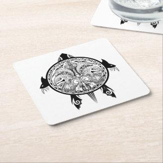 Porta-copo De Papel Quadrado Tatuagem tribal do protetor da tartaruga
