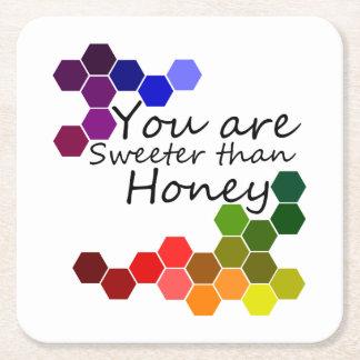 Porta-copo De Papel Quadrado Tema do mel com palavras positivas