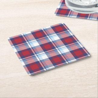 Porta-copo De Papel Quadrado Teste padrão azul branco vermelho tradicional do