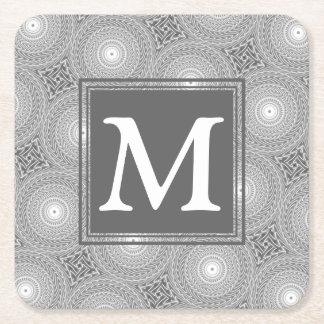 Porta-copo De Papel Quadrado Teste padrão cinzento dos círculos do monograma