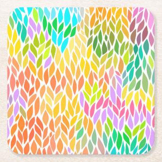 Porta-copo De Papel Quadrado Teste padrão colorido bonito das folhas