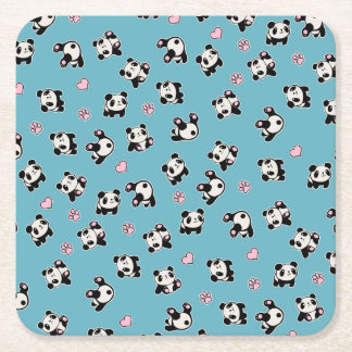 Porta-copo De Papel Quadrado Teste padrão da panda