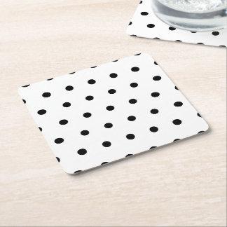 Porta-copo De Papel Quadrado Teste padrão de bolinhas preto e branco