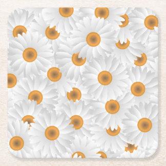 Porta-copo De Papel Quadrado Teste padrão de flor branco da camomila