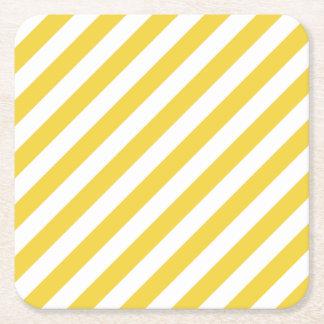 Porta-copo De Papel Quadrado Teste padrão diagonal amarelo e branco das listras