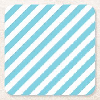 Porta-copo De Papel Quadrado Teste padrão diagonal azul e branco das listras