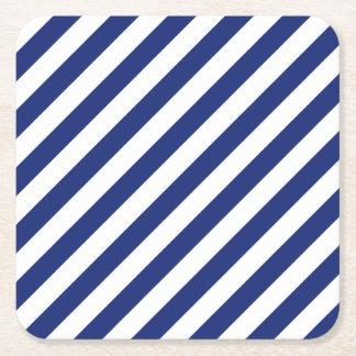 Porta-copo De Papel Quadrado Teste padrão diagonal do azul marinho e o branco