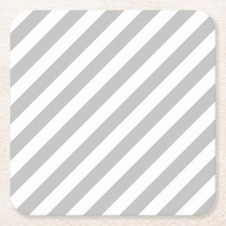 Porta-copo De Papel Quadrado Teste padrão diagonal do cinza e o branco das