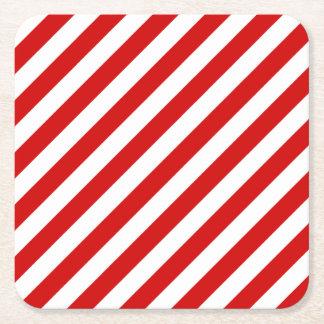 Porta-copo De Papel Quadrado Teste padrão diagonal vermelho e branco das