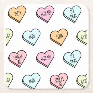 Porta-copo De Papel Quadrado Teste padrão do coração dos doces dos namorados