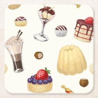 Porta-copo De Papel Quadrado Teste padrão doce com várias sobremesas