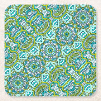 Porta-copo De Papel Quadrado Teste padrão floral do chique do hippy de Boho de