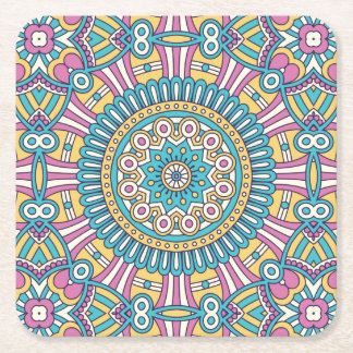 Porta-copo De Papel Quadrado Teste padrão floral do chique do hippy de Boho do