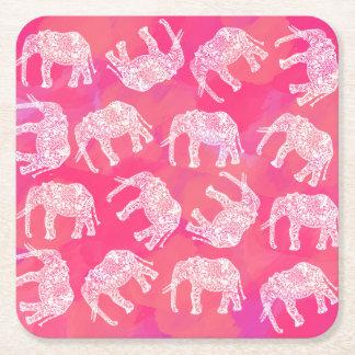 Porta-copo De Papel Quadrado teste padrão floral tribal colorido cor-de-rosa