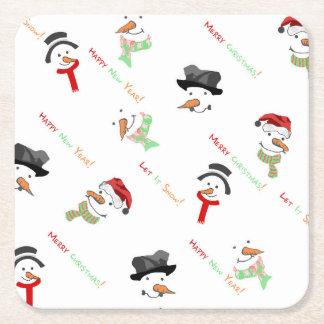 Porta-copo De Papel Quadrado Teste padrão lunático do boneco de neve do Natal