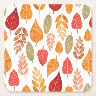 Porta-copo De Papel Quadrado Teste padrão pintado das folhas de outono