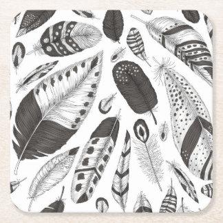 Porta-copo De Papel Quadrado Teste padrão preto e branco das penas