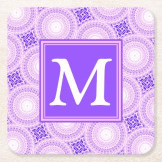 Porta-copo De Papel Quadrado Teste padrão roxo dos círculos do monograma
