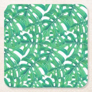 Porta-copo De Papel Quadrado Teste padrão tropical das folhas do monstera verde