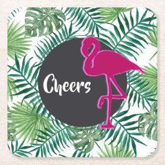 Porta-copo De Papel Quadrado Teste padrão tropical das folhas e elogios