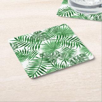 Porta-copo De Papel Quadrado Teste padrão verde tropical do verão das folhas de