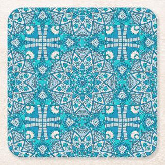 Porta-copo De Papel Quadrado Teste padrão vitral de Boho de turquesa floral