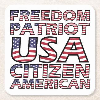 Porta-copo De Papel Quadrado Texto da bandeira americana da liberdade