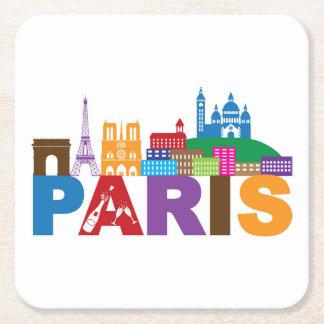 Porta-copo De Papel Quadrado Tipografia colorida de Paris, France |