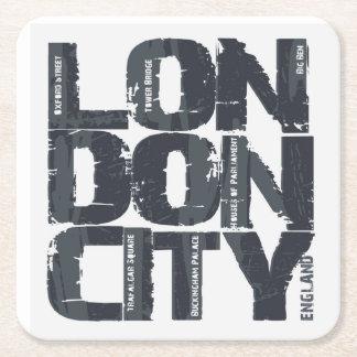 Porta-copo De Papel Quadrado Tipografia de Londres, Inglaterra