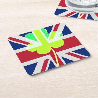 Porta-copo De Papel Quadrado Trevo britânico irlandês St Patrick Reino Unido do