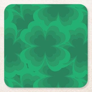 Porta-copo De Papel Quadrado Trevos irlandeses do primavera do trevo afortunado