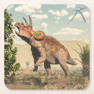 Porta-copo De Papel Quadrado Triceratops que come na árvore da magnólia - 3D