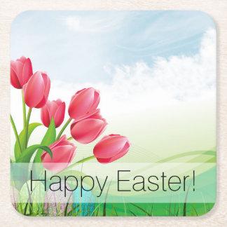 Porta-copo De Papel Quadrado Tulipas e ovos da páscoa do primavera