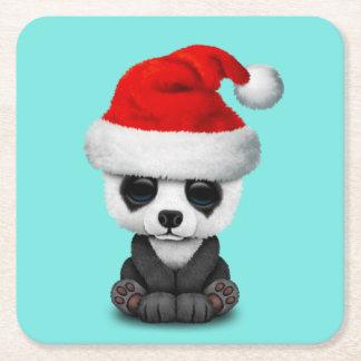 Porta-copo De Papel Quadrado Urso de panda do bebê que veste um chapéu do papai