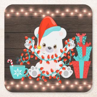 Porta-copo De Papel Quadrado Urso polar pequeno bonito com luzes de Natal