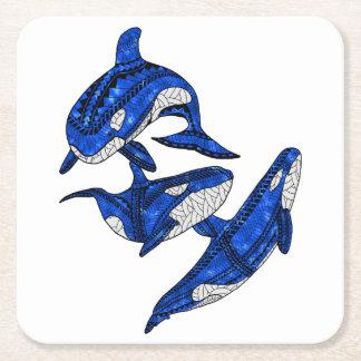 Porta-copo De Papel Quadrado Vagem de 3 orcas tribais