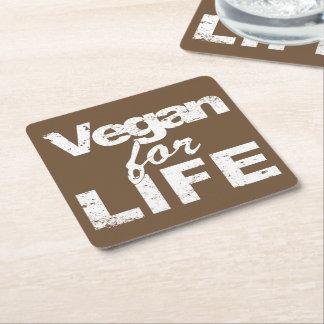 Porta-copo De Papel Quadrado Vegan para a VIDA (branca)