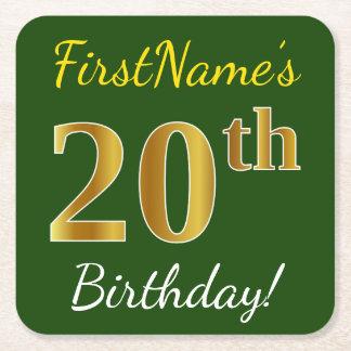 Porta-copo De Papel Quadrado Verde, aniversário do ouro do falso 20o + Nome