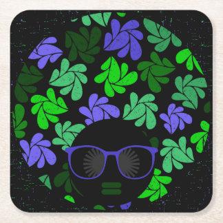Porta-copo De Papel Quadrado Verde & azul da diva do Afro