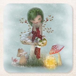 Porta-copo De Papel Quadrado verde do inverno