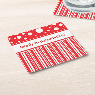 Porta-copo De Papel Quadrado Vermelho & White Christmas