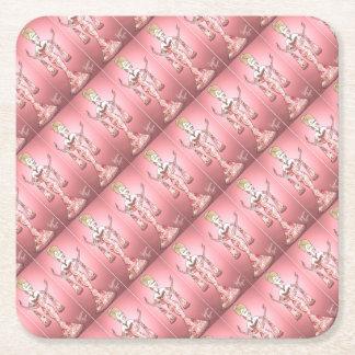 Porta-copo De Papel Quadrado Vestido do rosa do rosa