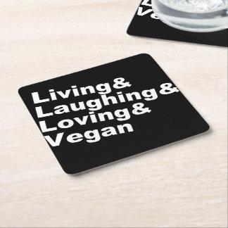 Porta-copo De Papel Quadrado Vida e riso e amor e Vegan (brancos)
