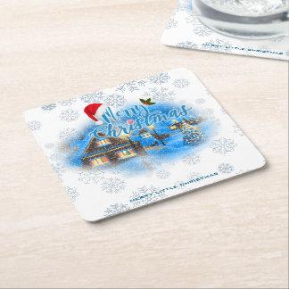 Porta-copo De Papel Quadrado Vila mágica do Natal