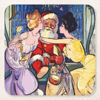 Porta-copo De Papel Quadrado Vintage Papai Noel