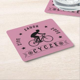 Porta-copo De Papel Quadrado Vive o ciclo do amor do riso (o texto do preto)
