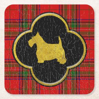 Porta-copo De Papel Quadrado Xadrez do vintage de Terrier do Scottish